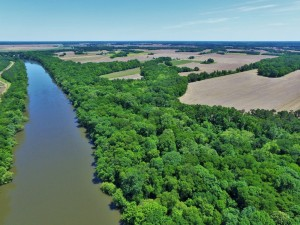 An aerial view of the Roanoke River on a new Halifax County Listing